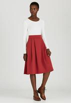 STYLE REPUBLIC - Fit & Flare Skirt Mid Brown