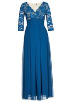 ELIGERE - Lace Gown with Full Skirt Mid Blue