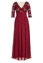 ELIGERE - Lace Gown with Full Skirt Dark Red
