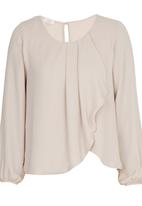 edit - Pleated Double Layer Blouse Stone