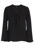 c(inch) - Lace-up blouse Black