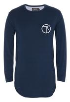 Resist - Long Sleeve Scooped Tee With Chest Print Navy