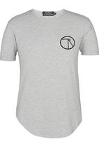 Resist - Scooped Tee With Chest Print Grey