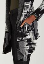 Revenge - Patterned Longline Cardi Black and White
