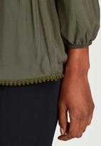 c(inch) - Peasant Tunic with Elastic Waist Dark Green
