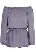 c(inch) - Peasant Tunic with Elastic Waist Grey