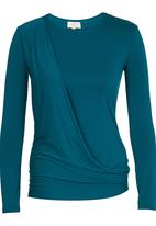 edit - Long-sleeve Drape Top Turquoise