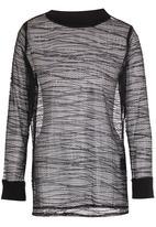 MAVEN by Michael Maven - Oversized Long Sleeve Mesh Tee Black