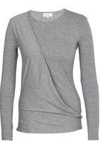 edit - Long-sleeve Drape Top Grey Melange
