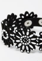 Jewels and Lace - Floral  Bracelet Black