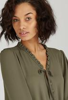 edit - Covered Button Blouse Khaki Green