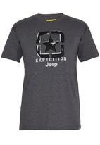 JEEP - S/S Applique/ Emb/Print Tee Dark Grey