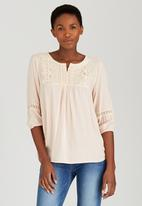 Suzanne Betro - Lace Trim Tunic Top Pale Pink