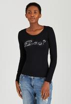 GUESS - Ombre Embellished Tee Black