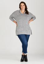 edit Plus - Cowl Neck Knit Tunic Grey