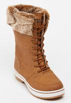 Tom Tom - Lace-up Mid Calf Boots Tan