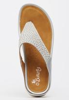 c107c6ce797ab4 Wedge Heel Thongs Silver Butterfly Feet Sandals   Flip Flops ...