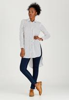 edit - Longer Length Shirt Blue and White