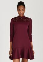 ELIGERE - Lace Zip Dress Dark Red