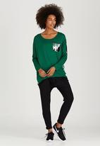 Slick - Ella Contrast Pocket Top Dark Green
