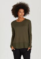 Slick - Jenna Inset Top Khaki Green
