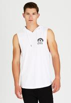 Silent Theory - Fearless Hooded Muscle T-Shirt White