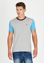 POLO - Classic Colour Block Crew-Neck T-Shirt Grey