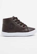 SOVIET - PU High Top Sneaker Dark Brown
