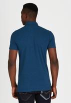 GUESS - Short Sleeve PIQUE SINGLE YARN POLO Blue