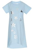 See-Saw - T-shirt Dress with Foil Print Pale Blue