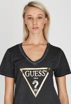GUESS - Bling Logo Deep V-neck Tee Black