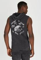 Silent Theory - Script Hooded Muscle T-Shirt Black