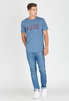 RVCA - Psych Script Marle T-Shirt Blue