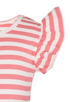 POP CANDY - Stripe  Tee Mid Pink