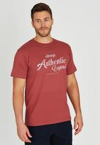 JEEP - Short Sleeve Printed T-Shirt Red