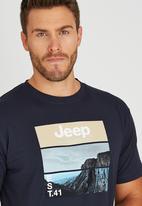JEEP - Short Sleeve Printed T-Shirt Navy