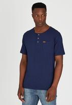 JEEP - Short Sleeve Henley T-Shirt Navy