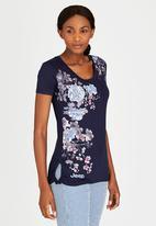 JEEP - Printed Floral Tee Navy