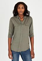 JEEP - Roll-up Sleeve Shirt Khaki Green