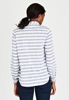 JEEP - Roll-up Sleeve Striped Slub Shirt Blue and White