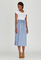 STYLE REPUBLIC - Self-Tie Midi Skirt Pale Blue