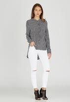 Brave Soul - Mandarin Collar Stripe Shirt Black and White