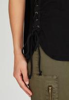 Brave Soul - Sleeveless Vest with Tie Side Detail Black