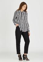 Brave Soul - Vertical Stripe Shirt Black and White