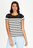 edit - Lace Inset T-shirt Black and White