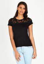 edit - Lace Inset T-shirt Black