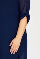 edit Plus - Hi Slit Chiffon Shirt Blue