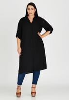 edit Plus - Hi Slit Chiffon Shirt Black