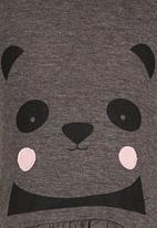 See-Saw - Animal Face Print Peplum Vest Grey