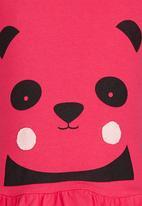 See-Saw - Animal Face Print Peplum Vest Dark Pink